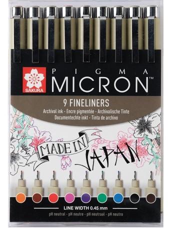 Sakura® pero Pigma Micron® 05 - 0.45 mm - Sada 9 barev