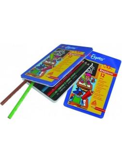 Trojhranné pastelky +4 - sada 12 barev v kovové krabičce