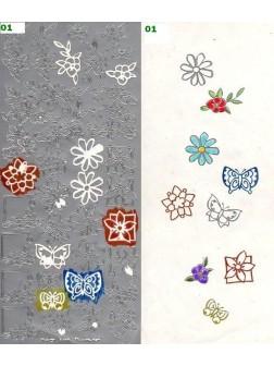 Nálepky 3D - Květiny a Motýly