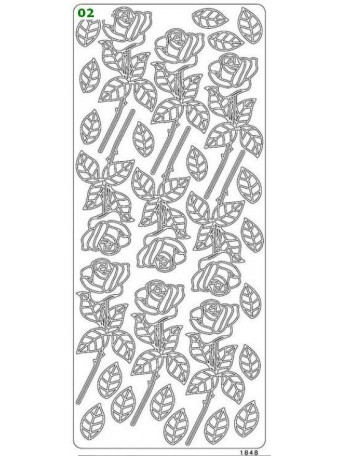 Peel Off´s Original 3D - Nálepky 3D Stříbrná - Růže
