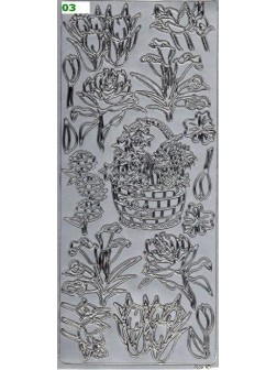 Nálepky 3D Stříbrná - Květiny s košem