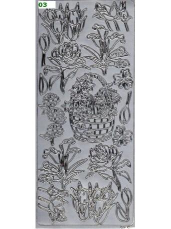 Peel Off´s Original 3D - Nálepky 3D Stříbrná - Květiny s košem