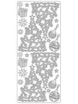 Nálepky 3D Stříbrná - Vánoční stromky