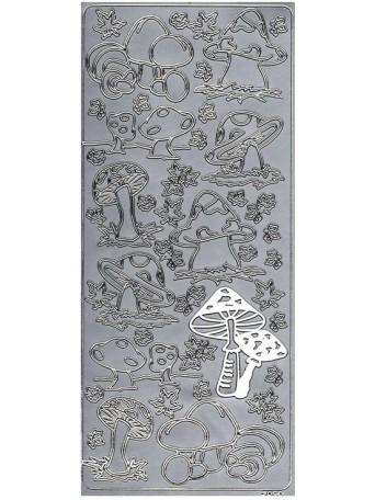 Peel Off´s Original - Nálepka 3D Stříbrná - Houby