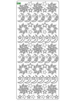 Nálepky 3D Stříbrná - Slunce & Měsíc