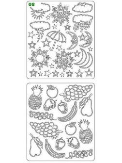 Nálepky 3D Stříbrná - Ovoce & Počasí
