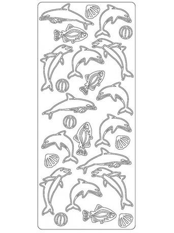 Peel Off´s Original 3D - Nálepky 3D Stříbrná - Delfíni