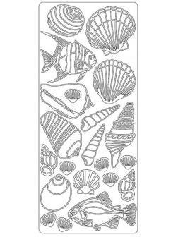 Nálepky 3D Stříbrná - Ryby & Mušle