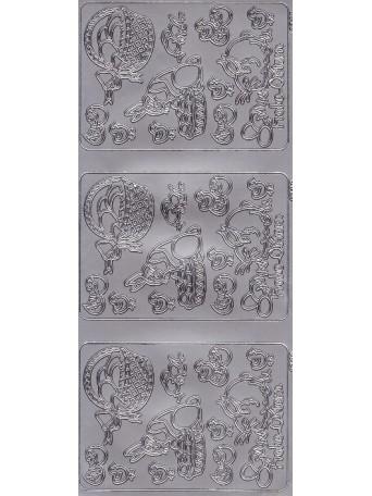 Nálepky 3D Stříbrná - Velikonoční