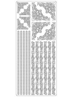 Nálepky 3D Stříbrná - Pruhy a Rožky