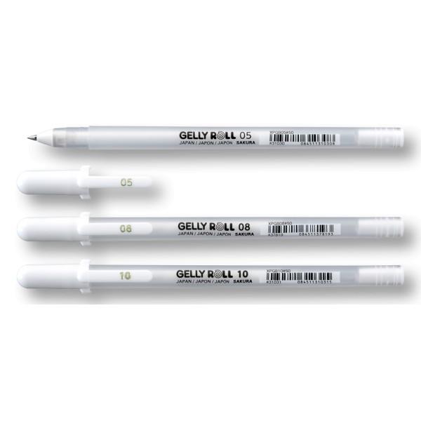 gelové pero bílé 3 šířky hrotu