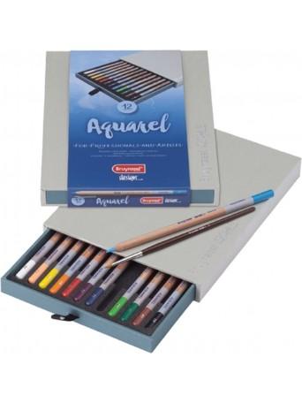 bruynzeel® Pastelky Akvarel Design® - sada 12 ks. se štětcem