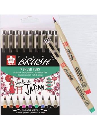 Sakura® Štětcové pero Pigma Brush® - sada 9 barev