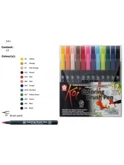 Akvarelové štětcové pero Koi® - 12 barev