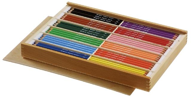 bruynzeel-sakura 2105/144 Extra silné šestihranné pastelky bruynzeel dřevěný box s přihrádkami na 12 barev á 12 ks + 2x ořezávátko
