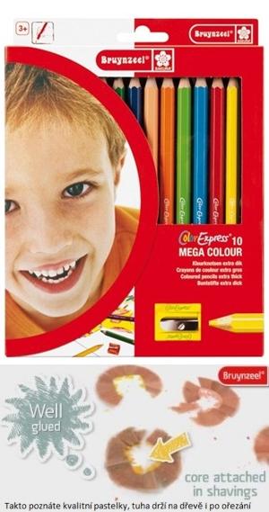 bruynzeel-sakura 2105K10 Extra silné šestihranné pastelky 10 barev s ořezávátkem