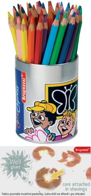 bruynzeel-sakura 2105/M50 Extra silné šestihranné pastelky s tuhou 5 mm, plechová dóza 12 barev po 4 ks + 2 x bílá + ořezávátko