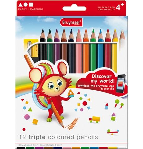 bruynzeel-sakura 3305K13 Trojhranné pastelky sada 12 barev s ořezávátkem