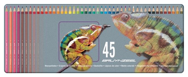 bruynzeel-sakura 5010M45 Pastelky bruynzeel v kovové etuji pro děti sada 45 barev - motiv Chameleon