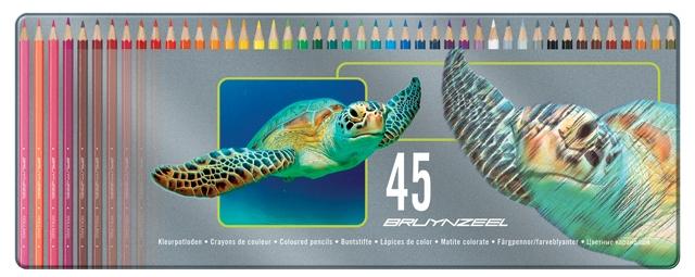 bruynzeel-sakura 5011M45 Pastelky bruynzeel v kovové etuji pro děti sada 45 barev - motiv Želva