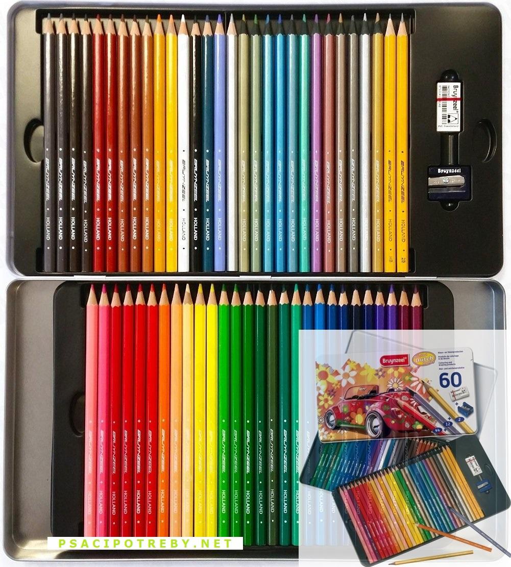 bruynzeel-sakura 6062M60 Sada 60 pastelek a tužek s gumou a ořezávátkem v patrové kovové etuji