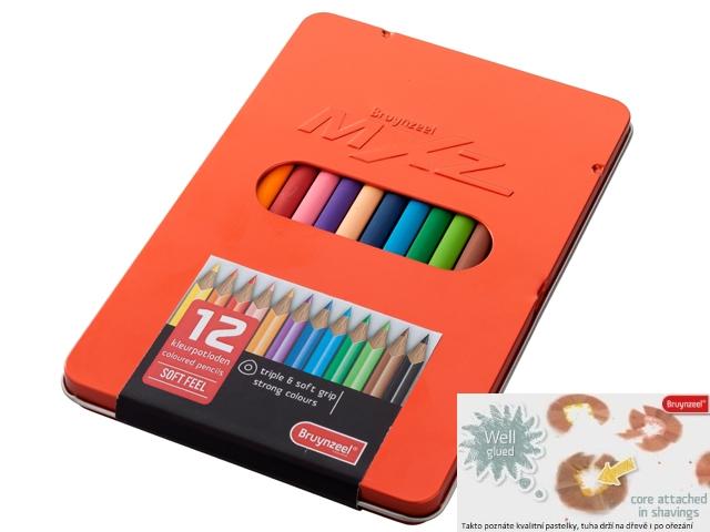 bruynzeel-sakura 6519M12 Pastelky trojhranné MXZ pro náctileté sada 12 barev v kovové etuji - červená