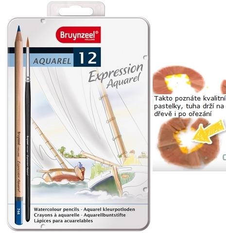 bruynzeel-sakura 7735M12 Pastelky Expression akvarelové sada 12 barev v kovové etuji se štětcem.