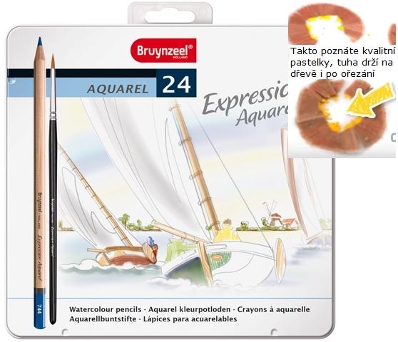 bruynzeel-sakura 7735M24 Pastelky Expression akvarelové sada 24 barev v kovové etuji se štětcem