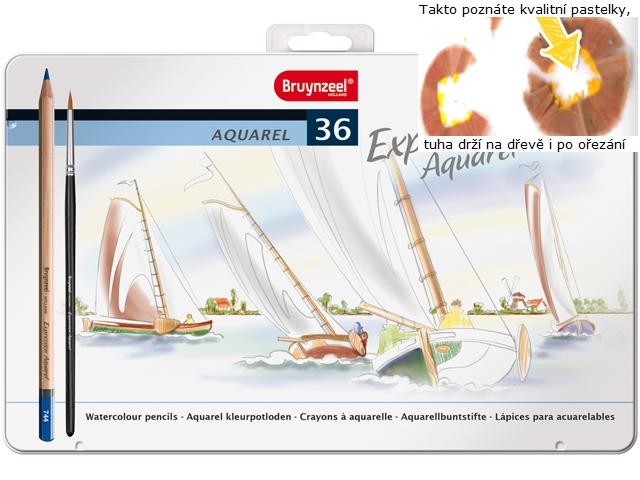 bruynzeel-sakura 7735M36 Pastelky Expression akvarelové sada 36 barev v kovové etuji se štětcem
