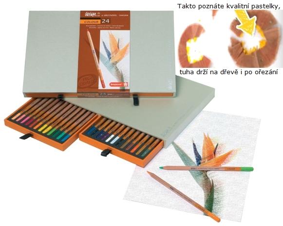 bruynzeel-sakura 8805H24 Umělecké pastelky bruyzeel Design Colour sada 24 barev v dřevěné krabici
