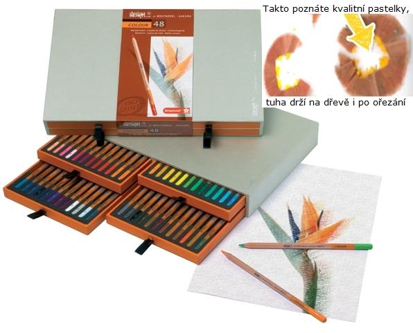 bruynzeel-sakura 8805H48 Umělecké pastelky bruyzeel Design Colour sada 48 barev v dřevěné krabici