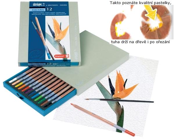 bruynzeel-sakura 8835H12 Pastelky Bruynzeel Design Akvarel sada 12 barev se štětcem v dřevěné krabici