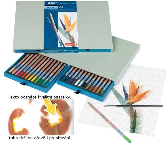 bruynzeel-sakura 8835H24 Pastelky Bruynzeel Design Akvarel sada 24 barev se štětcem v dřevěné krabici