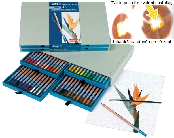 bruynzeel-sakura 8835H48 Pastelky Bruynzeel Design Akvarel sada 48 barev se štětcem v dřevěné krabici