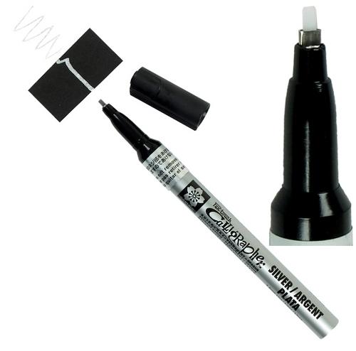 bruynzeel-sakura XPSK-C.53 Lakový tekutý permanentní Stříbrný popisovač kaligrafický Pen Touch - 1.8 mm