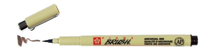 bruynzeel-sakura XSDK-BR/117 štetečkové pero, archivní ink. Pigma Brush pen - tmavá sépie