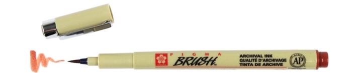 bruynzeel-sakura XSDK-BR/12 štetečkové pero, archivní ink. Pigma Brush pen - hnědá