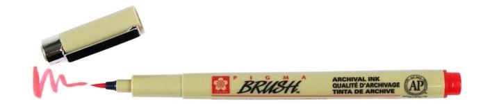 bruynzeel-sakura XSDK-BR/19 štetečkové pero, archivní ink. Pigma Brush pen - červená
