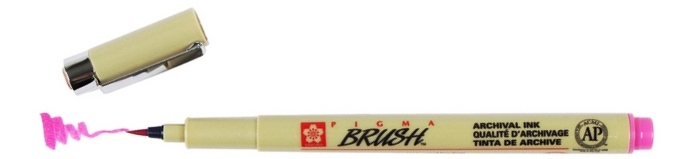 bruynzeel-sakura XSDK-BR/21 štetečkové pero, archivní ink. Pigma Brush pen - růžová