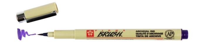 bruynzeel-sakura XSDK-BR/24 štetečkové pero, archivní ink. Pigma Brush pen - fialová