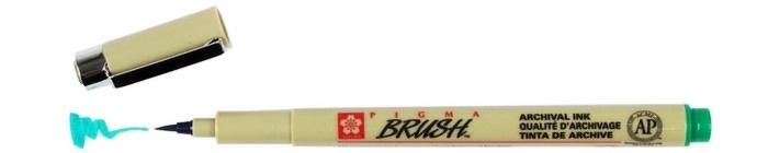 bruynzeel-sakura XSDK-BR/29 štetečkové pero, archivní ink. Pigma Brush pen - zelená