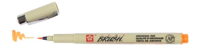 bruynzeel-sakura XSDK-BR/5 štetečkové pero, archivní ink. Pigma Brush pen - oranžová