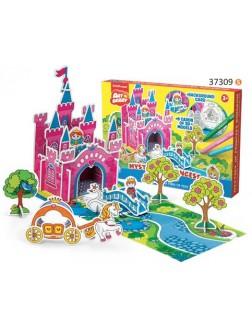 Omalovánky 3D puzzle - Zámek s princeznou