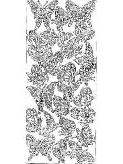 Nálepky 3D Stříbrná - Různí motýli