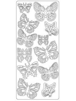 Nálepky 3D Zlatá - Různí motýli