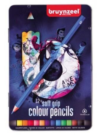 bruynzeel® Trojhranné pastelky Soft Feel +10 - sada 12 ks. v tmavé kovové etuji