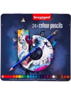 bruynzeel® Pastelky - sada 24 ks. v tmavé kovové etuji
