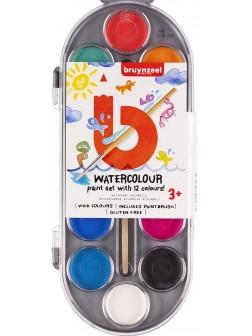 bruynzeel® Dětská sada vodových barev 12 ks se štětcem